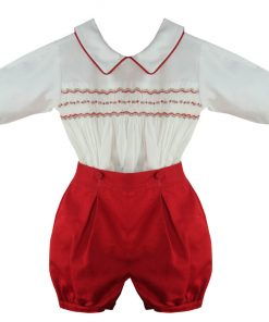 Red Smocked Boys Outft